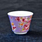 台湾茶器 茶杯 花布柄 パープル