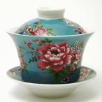 台湾茶器 蓋碗 花布柄 ブルー(新太源製)