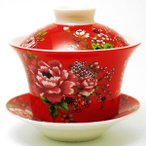 台湾茶器 蓋碗 花布柄 レッド(新太源製)