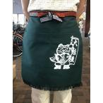 別染二つポケット付き無地帆前掛 (緑)招き猫マーク入り    1枚 1メール便(164円)対応商品です。