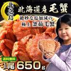 北海道産 極上 毛蟹 1尾 650g前後 海鮮ギフト 毛ガニ 特大 カニ 海産物 暑中見舞い 贈り物 お祝い お中元 ギフト 食べ物 毛がに