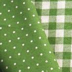 手芸のいとや 生地 綿麻リバーシブル布 ドット×チェック イエローグリーン 生地幅-約108cm×2mカット 綿80%麻20%