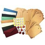 TSUKURIRO レターセット 封筒 8枚 便箋 32枚 シール2種類 アンティーク クラシック ロング (無地封筒)