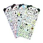 パンダシール 手帳シール レジンの封印にぷくぷくシール 子供や学生にごほうびシール 4枚セット