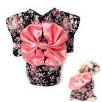 ANSIMITE 犬 猫 日系の着物 四季折々 田園花の着物 日系かわいい 犬の服 ちょう結び きれいなスカート 写真を撮る 猫の服 (M, ブラック)