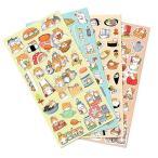 IVON シールセット 子供 ふわふわシール かわいい 142枚以上 手帳用シール 寿司 猫 犬 動ール スケジュール帳用 TH005 (4点セット)