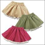 ショッピング子供服 19-2-f スエードスカート 1分丈パンツ付   スカッツ フレアースカート ジュニア・キッズ・女の子 / 子供服   花柄 スカート
