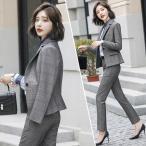 フォーマル パンツスーツ レディース 通勤 OL ビジネススーツ 2点セット チェック柄 就職活動 フィススーツ 20代 30代 大きいサイズ
