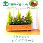 フェイクグリーン ゴールドクレストミックスフラワーウッドプランター 抗菌 抗ウイルス 消臭 人工観葉植物 触媒加工 清潔に保つ