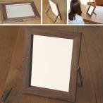 鏡 卓上 スタンドミラー オシャレ 無垢材とアイアンを組み合わせた卓上の鏡 ブラックウォルナット材 木製 木枠 北欧  化粧台  完全日本製 完全受注製作品