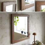 鏡 壁掛け  おしゃれ アンティーク 天然木 木製  北欧  ウォールミラー 木枠 無垢 パイン材 500×600mm ブラウン 洗面台 玄関 完全日本製  完全受注製作品