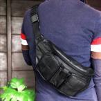 Bag - ボディバッグ ウエストポーチ 11036 本革 メンズバッグ 訳あり品 メール便で送料無料   羊革 合成皮革