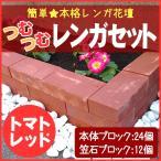 レンガ 花壇 つむつむレンガセット トマトレッド  笠