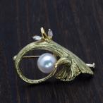 K18 青割 アコヤ本真珠 ツリーブローチ パール 18金 ゴールド 個性的 木 かわいい レディース