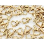 ショッピングストラップ パーツ カニカン ハート ゴールド KC金 50個 10mm 金具 留め具 留め金具 ストラップ ネックレス ブレスレット アジャスター パーツ (AP0754)