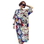 プラスサイズ女性パジャマファッション緩い ネックヴィンテージ抽象アートプリントカジュアル夏シャツナイトガウンドレス