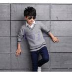 セーター 子供服 男の子 キッズ ジュニア 冬 あったか 暖かい  可愛い ファッション 新品 VネックJETD2-AL346