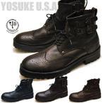 ウイングチップブーツ メンズ 本革 編み上げブーツ YOSUKE U.S.A ヨースケ ※(予約)は3営業日内に発送