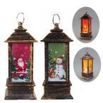 LEDアンティーク暖炉風ランタン置物 サンタレッド スノーマングリーン クリスマス雑貨 クリスマス置物 LEDライト