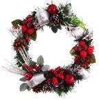 クリスマスリース 25cm ナチュラルスノーレッド 玄関 おしゃれ 北欧 手作り