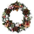 クリスマスリース25cmナチュラルスノーブラウン【玄関/高級/おしゃれ/国内生産】