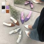 ミュール ヒール ポインテッドトゥ スクエアカット リザード レディース シューズ 靴 4cm 春 春夏 白 黒 I2066