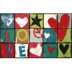 /50%OFF/ 玄関マット ラグ ラグマット 屋外 室内 おしゃれ 洗える Love Letters 75 x 120cm