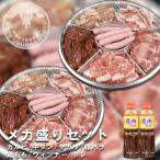 バーベキュー焼肉 メガ盛りセット 2.6kg(10人前) カルビ 牛タン サガリ 豚バラ 鶏モモ ウィンナー タレ付き
