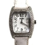 MT3453 FolliFollie フォリフォリ 腕時計ラインストーン レディース S922ZI/SLV-WHT/中古/訳アリ