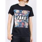 送料無料 RIVER ISLAND リバーアイランド  ブラック フローラル FAKE プリント 半袖 クルーネック Tシャツ メンズ  日本未発売 SALE