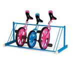 エバニュー EVERNEW 一輪車 ラック 置き式 幅129×奥行61×高さ50cm 青 スチール 片面 5台掛 日本製 収納 運動 体育 学校 送料無料 EKD124