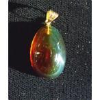 メキシコ琥珀レインボーアンバーK18ペンダント(極小型)