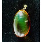 メキシコ琥珀レインボーアンバー卵型18ペンダント(中型)