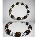 般若心経彫り 紫檀 俵型水晶 腕輪 パワーストーン 天然石ブレスレット