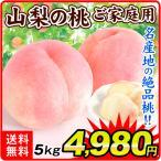 桃 お買得 山梨の桃(5kg)14〜20玉 ご家庭用 日本一の名産地 品種おまかせ もも ピーチ フルーツ 国華園