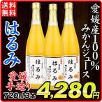 みかんジュース  はるみ 果汁100% 愛媛産 (720ml×3本)1組 蜜柑 みかん ストレート果汁 手造り ギフト 飲料 国華園