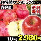 りんご 青森産 お得値! サンふじ ご家庭用 10kg 1箱 送料無料 ふじりんご 赤りんご