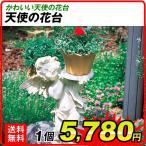 置物 ガーデンオーナメント ポリ製オーナメント 天使の花台 1個 エクステリア 幅36・奥行24・高さ61 国華園