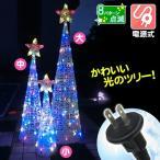 電源式 LEDモチーフ クリスタルツリー4色・中 1個  イルミネーション クリスマスライト モチーフライト