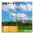 園芸支柱 支柱 菜園アーチ支柱 直径16mm 高さ175cm 10本1組 鋼管製 雨除け栽培 トマト 国華園