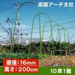 園芸支柱 支柱 菜園アーチ支柱 直径16mm 高さ200cm 10本1組 鋼管製 雨除け栽培 トマト 国華園