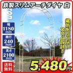 バラアーチ 鉄製スリムアーチ・白 1個 幅118・奥行24・高さ240 ガーデンアーチ ローズアーチ ガーデニング ホワイト