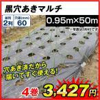 農業用マルチ 黒穴あきマルチ 2列60(0.95×50m) 4巻1組