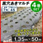 農業用マルチ 黒穴あきマルチ 7列45(1.35×50m) 4巻1組