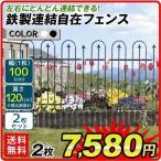 ガーデンフェンス(2枚組)鉄製 連結自在 フェンス 幅198・高さ120cm 送料無料 アイアン 柵 仕切り 庭 公園 花壇 組立式 国華園