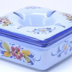 ポルトガル 灰皿 フタ付き【ブルーフラワー柄】 白 陶器製 蓋付きアッシュトレイash