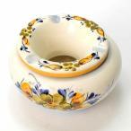 ポルトガル 灰皿 フタ付き 丸型 黄色 陶器製 優しい小花柄 イエロー アッシュトレイash