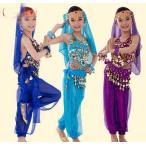 【ベリーダンス衣装6点セット】キッズ 子供ダンス衣装 ハロウィン コスプレ アラジン ジャスミン風 アラビアン衣装 スパンコール レッスン着 舞台衣装