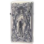 ZIPPO(ジッポー) オイルライター ディープエッチング アラベスクマリア スリム 銀いぶし 63210198 タバコ デザイン キリスト