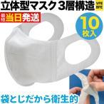 立体型マスク 耳が痛くない 三層フィルター VFE BFE 普通サイズ 不織布 使い捨て 10枚入り 普通サイズ10枚入り